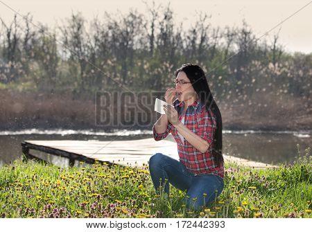 Girl Having Allergy And Sneezing In Tissue