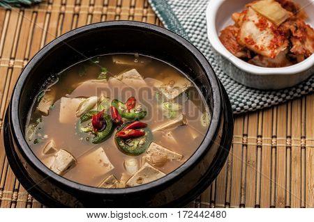 Close up of Korean Denjang soup. A popular dish in Korea.