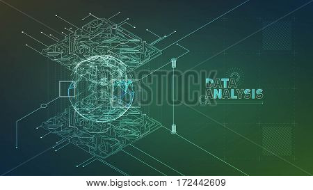 data analysis vector illustration. Analytics process. Analyzing information banner