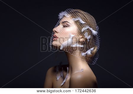 Portret of beautiful young woman with natural makeup. Face covered in veil net with white feathers on it. Studio shot on black background. Copy space.