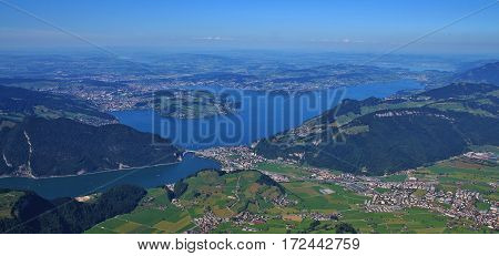Lake Vierwaldstattersee and Lucerne in summer. View from mount Stanserhorn.