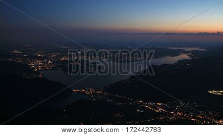 Lucerne and lake Vierwaldstattersee by night. View from mount Stanserhorn.