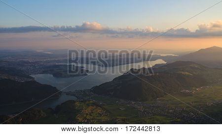 View from mount Stanserhorn lake Vierwaldstattersee at sunrise.