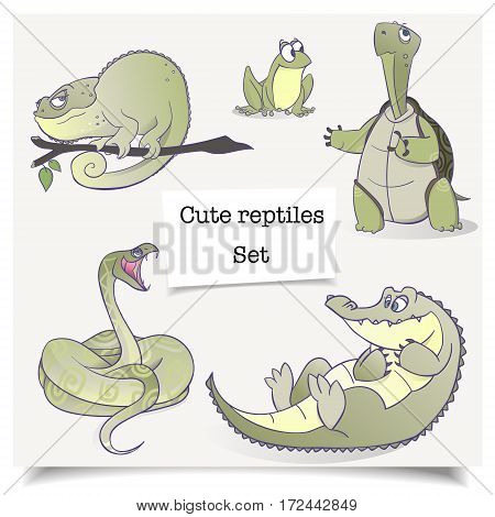 Vector illustration. Adorable hand-drawn animals. Set of cartoon reptiles collections isolated on white background