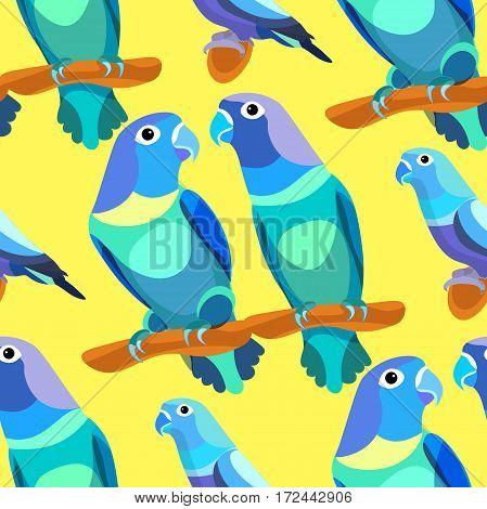 Seamless Pattern Parrot Lovebirds Couple Sitting Head Turned Blue Vector Illustration