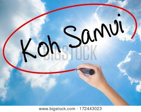 Woman Hand Writing Koh Samui With Black Marker On Visual Screen