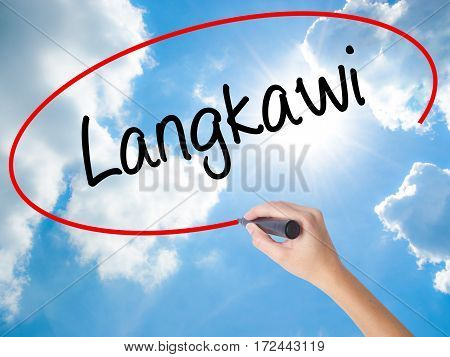Woman Hand Writing Langkawi  With Black Marker On Visual Screen.