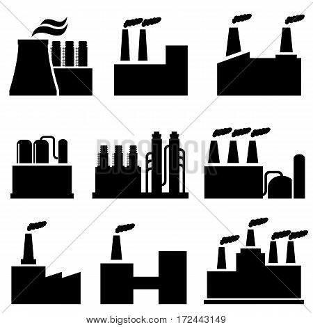 Industrial buildings and factories icon set in black