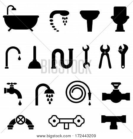 Plumbing bathroom and kitchen icon set in black