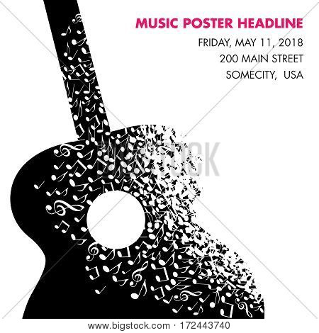 A guitar made of musical notes page template for print or web