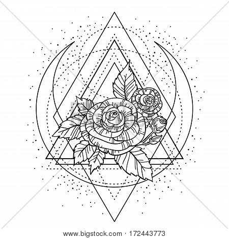 Rose Flower With Sacred Geometry Frame. Tattoo, Mystic Symbol. Boho Print, Poster, T-shirt. Textiles