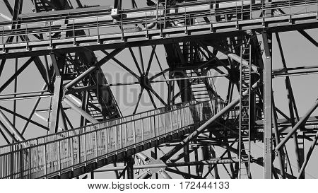 Detail of a big cable car pylon of the Stanserhorn cable car.