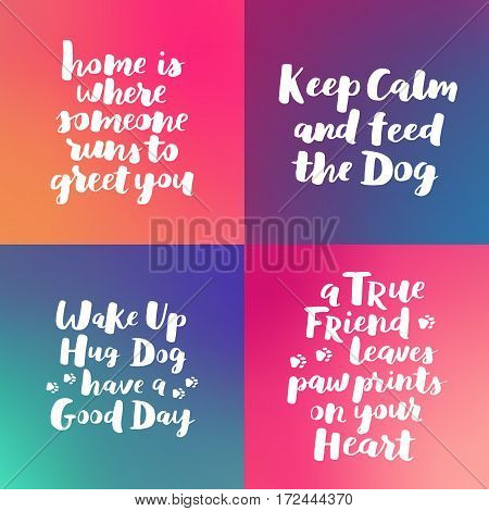 Dog Hand Written Lettering Collection. Brush Lettering Quotes About The Dog. Phrases Set About Pet.