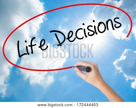 Woman Hand Writing Life Decisions With Black Marker On Visual Screen.