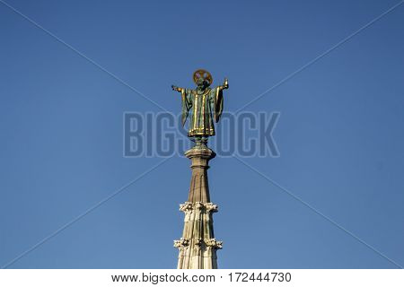 Sculpture on top of the tower of the new city hall of Munich at Marienplatz also called Mary's Square one of the most vital places in Munich