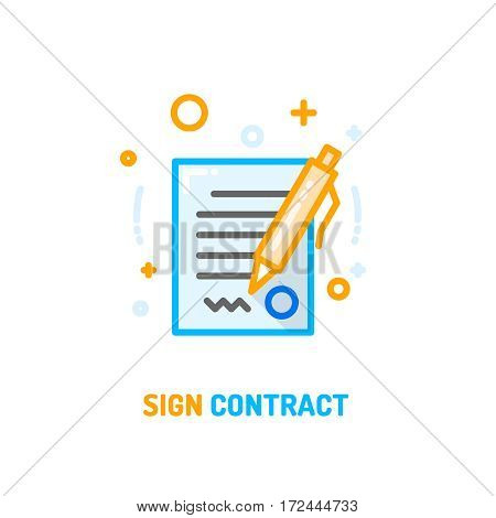 Signed and stamped contract with pen vector linear flat icon. Filled sheet of paper with text, signature and stamp isolated on white background.