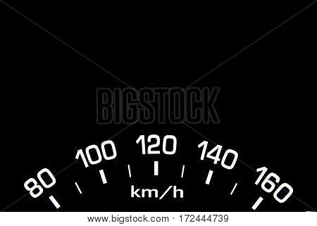 Close up shot of a car speedometer on black background