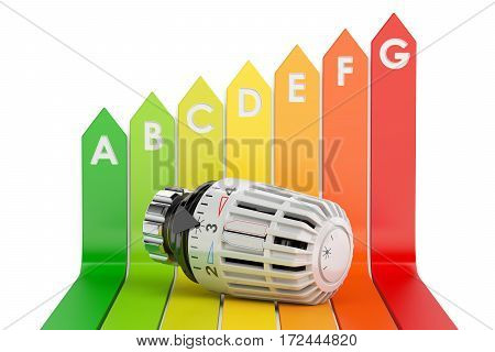Energy efficiency chart with thermostat 3D rendering isolated on white background