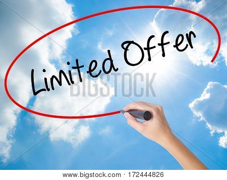 Woman Hand Writing Limited Offer With Black Marker On Visual Screen