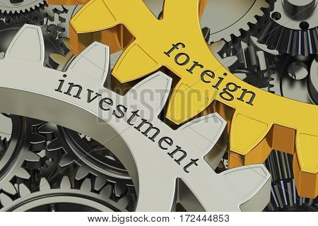 foreign investment concept on the gearwheels 3D rendering