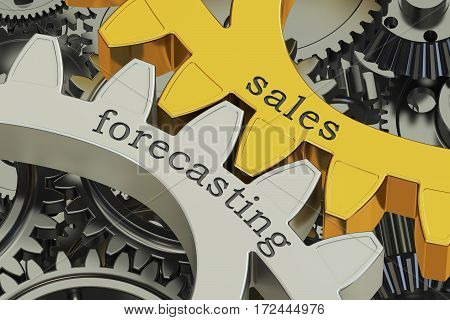sales forecasting concept on the gears 3D rendering