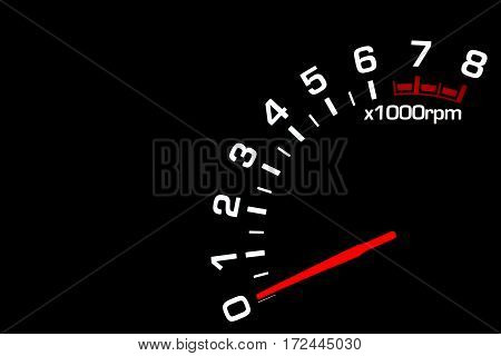 Close up shot of a car speedometer tachometer on black background