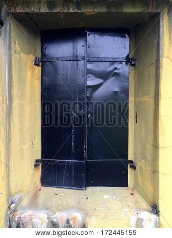 Closed and Locked Metal Bunker Door in NorthWest Oregon
