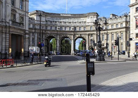 LONDON, GREAT BRITAIN - MAY 12, 2014: Admiralty Arch is a three-arch Arch between Trafalgar Square and The Mall.