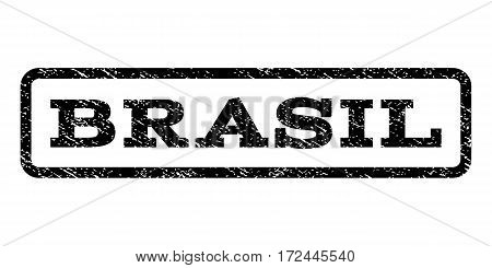 Brasil watermark stamp. Text caption inside rounded rectangle with grunge design style. Rubber seal stamp with unclean texture. Vector black ink imprint on a white background.