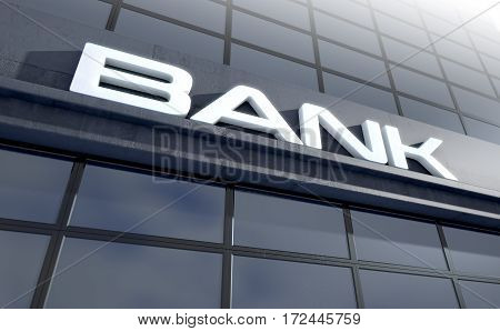 Glass Bank Building Signage