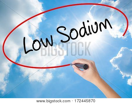 Woman Hand Writing Low Sodium With Black Marker On Visual Screen