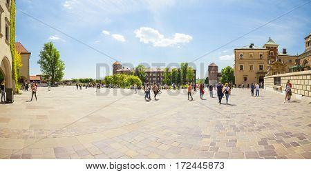 Krakow, Poland - June 08, 2016: Panoramic View Of A Square At Famous Historical Complex Of Wawel Roy