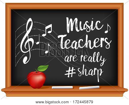 Music Teachers are really # sharp, music notes, treble clef on staff, chalk text, wood frame chalkboard, apple. March is Music Month.