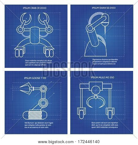 Robot arms line art design. Vector blue robotic armed machines cards