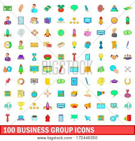 100 business group icons set in cartoon style for any design vector illustration