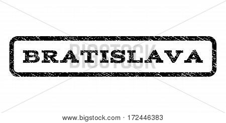 Bratislava watermark stamp. Text tag inside rounded rectangle frame with grunge design style. Rubber seal stamp with scratched texture. Vector black ink imprint on a white background.