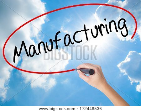 Woman Hand Writing Manufacturing  With Black Marker On Visual Screen.