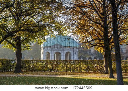 The Hofgarten (Court Garden) with the pavilion for the goddess Diana is a garden in the center of Munich Germany located between the Residenz and the Englischer Garten
