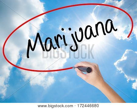 Woman Hand Writing Marijuana With Black Marker On Visual Screen
