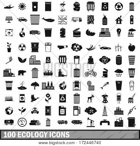 100 ecology icons set in simple style for any design vector illustration