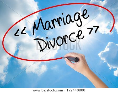 Woman Hand Writing Marriage - Divorce With Black Marker On Visual Screen.