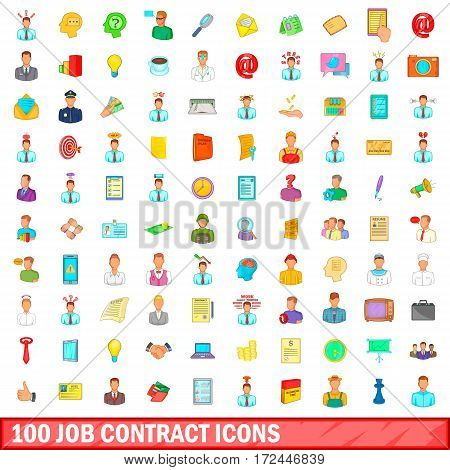 100 job contract icons set in cartoon style for any design vector illustration