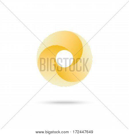 Abstract shape, yellow 3d torus, eps10 vector illustration