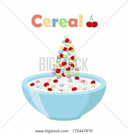 Cereal rings, cherry with bowl. Oatmeal breakfast with milk, organic muesli. Flat vector style.