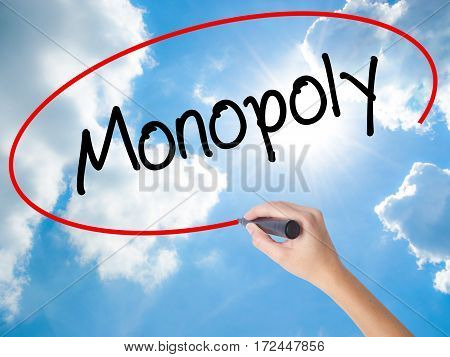 Woman Hand Writing Monopoly With Black Marker On Visual Screen.