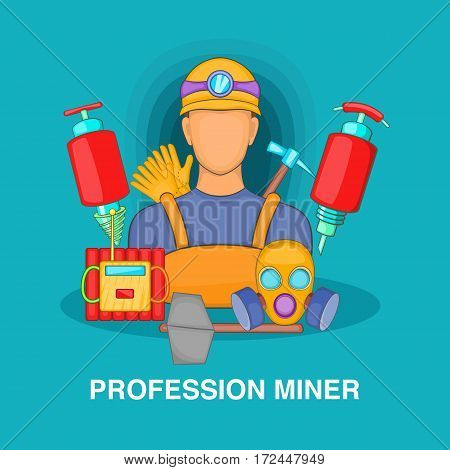 Professional miner concept set. Cartoon illustration of professional miner vector concept for web
