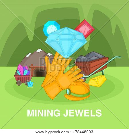 Mining jewels concept set. Cartoon illustration of mining jewels vector concept for web