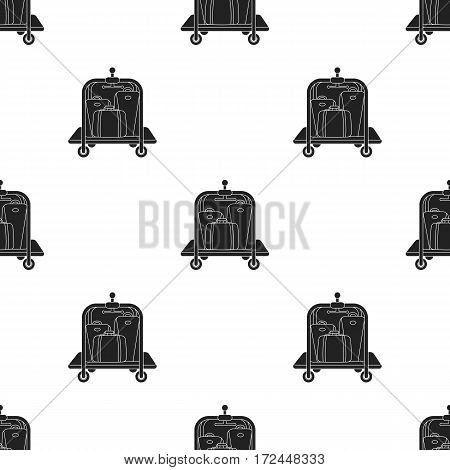 Luggage cart icon in black style isolated on white background. Hotel pattern vector illustration.