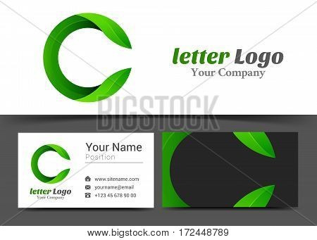 Letter C Eco Leaves Corporate Logo and Business Card Sign Template. Creative Design with Colorful Logotype Visual Identity Composition Made of Multicolored Element. Vector Illustration.