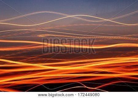 Long exposure lights on beach, taken in northen California.